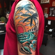 old-school-waves-island-theme-lloyd-woodrome-monarch-tattoo